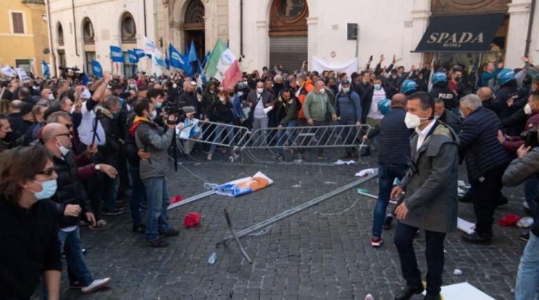 Сблъсъци в Рим на протест срещу Covid мерките